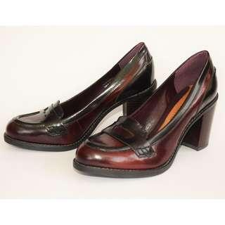 Clarks Leather Oxblood Block Heels Loafers UK Size 5.5