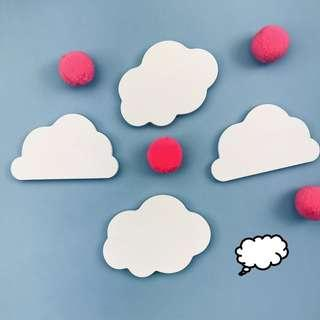 PO Clouds White Cloud Fluffy Sticky Notes Notepad Sticker 2 Per Set