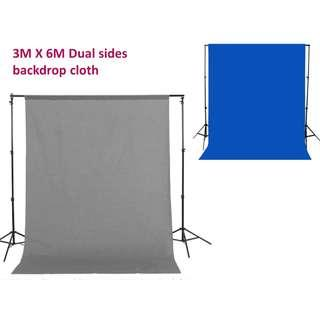 3m x 6m dual sides backdrop cloth gray and blue for photo booth photography photo studio