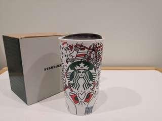 Starbucks DW Double Wall Tumbler 2017 Holiday USA 10oz Ceramic Mug