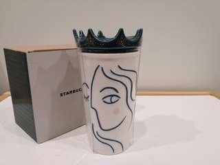 Starbucks DW Tumbler Siren with Crown Lid 10oz Ceramic Mug