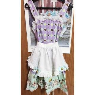 Lolita cosplay alice in wonderland lacy dress with apron