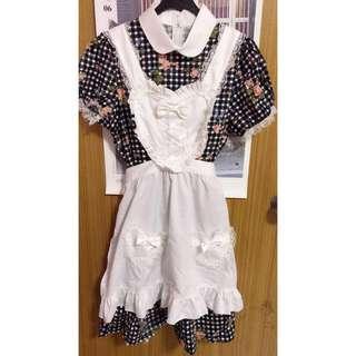 Maid Costume Lolita dress gingham peter pan collar with apron