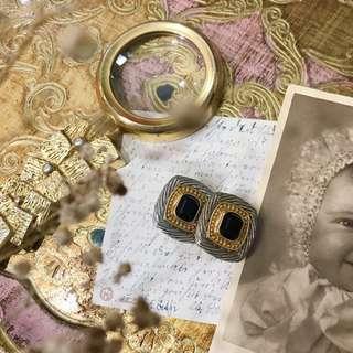 VINTAGE 老台灣製 80年代 全新庫存 古董 方形 拼色 夾式 耳環