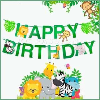 🎉 JUNGLE • ANIMAL • ZOO THEME BIRTHDAY Banner • Flag • Bunting • Party Decoration