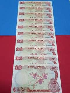 $10-Orchid HSS WITHOUT SEAL 10PCS RUNNING .ORIGINAL UNC.VERY MINOR AGEING.RARE .!!!!!.
