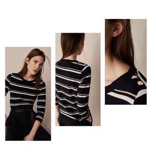 Massimo Dutti striped t-shirt with decorative snap buttons