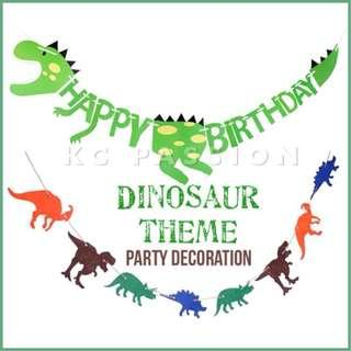 🎉 DINOSAUR • DINO THEME BIRTHDAY Banner • Flag • Bunting • Party Decoration