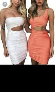 White Hollowout Bodycon dress