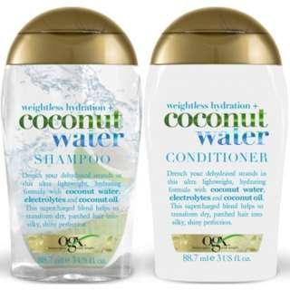OGX Coconut Water Shampoo & Conditioner, 88.7 ml(Combo Set)