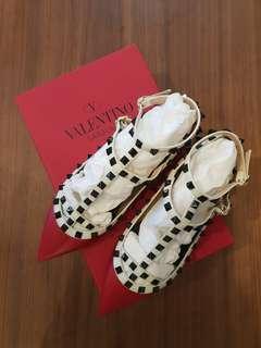 Valentino Red Rockstud Flats Size 37