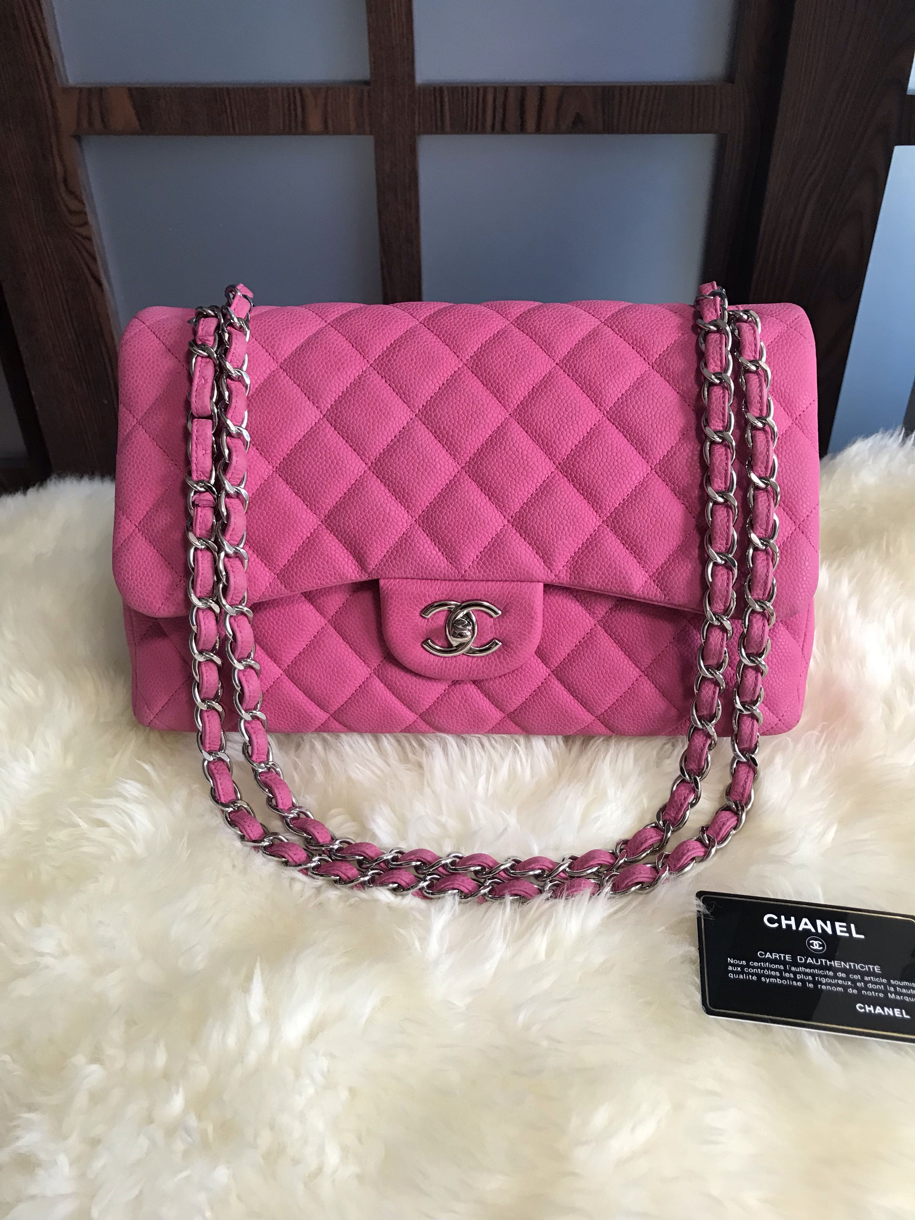 8894f3ef6748 18 Chanel Jumbo Classic Double Flap Caviar Hot Pink With Shw