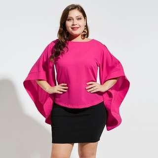 Rose Flare Sleeve Blouse Plus Size
