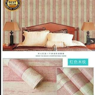 Wallpaper Stiker Dinding Motif Papan Kayu Merah Muda