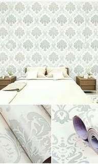 Wallpaper Stiker Dinding Motif Batik Silver