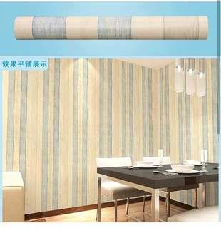 Wallpaper Stiker Dinding Kayu Biru Coklat Klasik