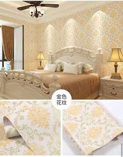 Wallpaper Stiker Dinding Motif Batik Mawar Kuning
