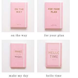 PO On My Way / For Your Plan / Hello Time / Make My Day 2019 Planner Note Book Notebooks 4 Designs Pink A5