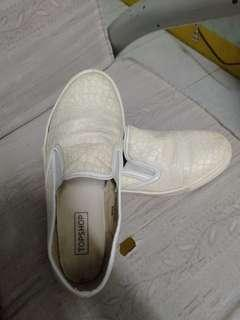 White Leather Slip on