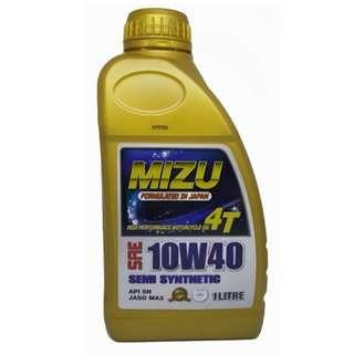 Mizu 4T 10W40(API SN) Semi Synthetic Lubricant Motorcycle Engine Oil 1L