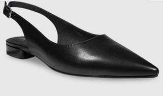 Wittner Black Leather Pointed Toe Slingback