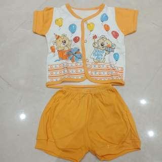 New! stok 1 Setelan Bayi Birthday Orange