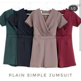 Simple Jumpsuit (coklat)- Baju