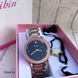 🚚 實拍Meibin 玫瑰金不鏽鋼手錶 隨機附贈手鍊 原廠錶盒 提袋 交換禮物