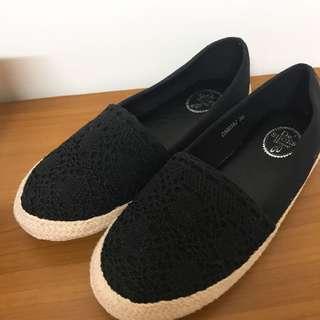 🚚 黑色編織鞋 36