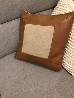 Crate & Barrel leather and burlap pillow