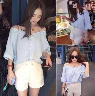 Korean Baby Blue Off Shoulder