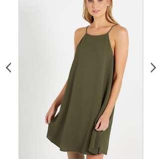 Army Green Halter Dress