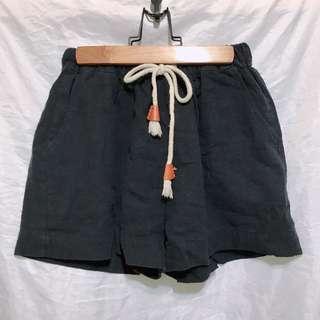 🚚 全新_質感鬆緊皮綁繩短褲