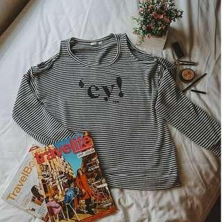 Plain Black and White or Gray Stripes Off Shoulder Stretchable Loose Long Sleeves Blouse or Top ( can be for casual wear / winter style )