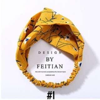 Bandana Turban Yellow Flower Headband hairband bunga elastis ala korea