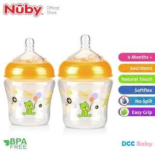 Nuby Natural Touch Baby Silicone Bottle 6oz/180ml-Twin Pack