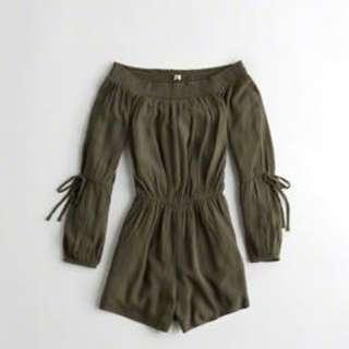 Hollister Off-The-Shoulder Rayon Romper, OLIVE XS