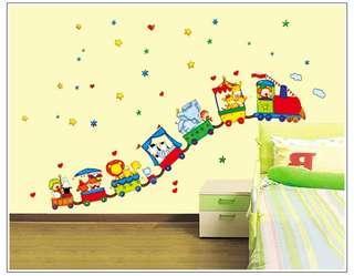 全新 動物火車兒童細牆貼 32x60cm wallsticker 教室課室兒童房kids room
