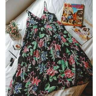 Printed Classy Cute Floral Black Red Green and Blue Sleeveless Maxi Long Summer Baby Doll Dress (can be for casual / smart casual / work office inner attire)