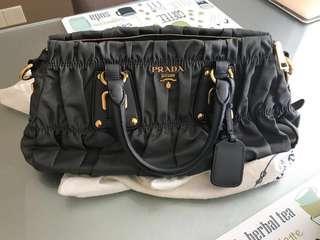 Prada Ardesia (Grey) Nylon Small Gaufre 2way Handbag