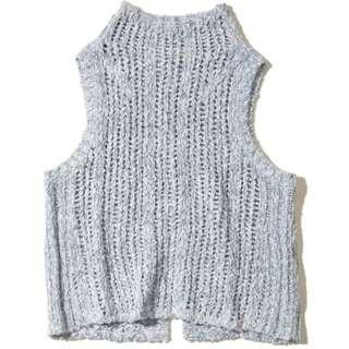 Hollister Mockneck Sweater Tank, LIGHT BLUE XS