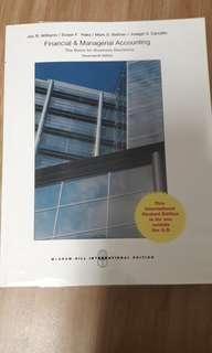 Financial & Managerial Accounting Textbook 17th ed (Williams, Haka, Bettner, Carcello)