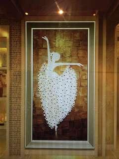 New 3D Oil Panting of Ballerina with Champagne Frame