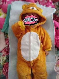 日本購入 鬆弛熊 rilakkuma 嬰兒造型衣 BB衫 cosplay 全新 50-70碼 合初生至六個月