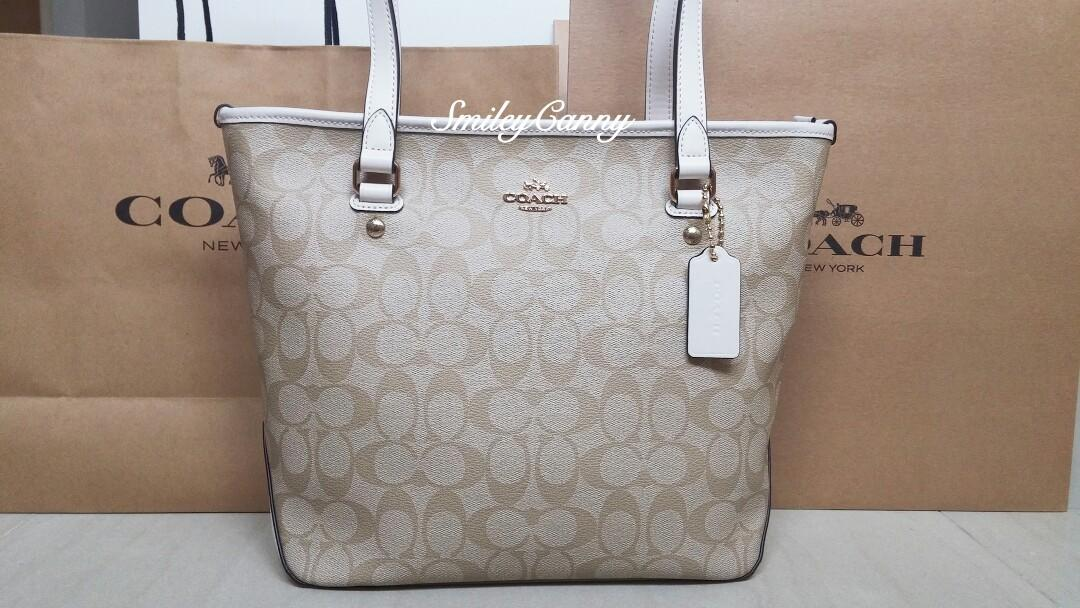 f28edf7b BNWT Coach Zip Top Tote In Light Khaki/ Chalk #F58294, Luxury, Bags ...