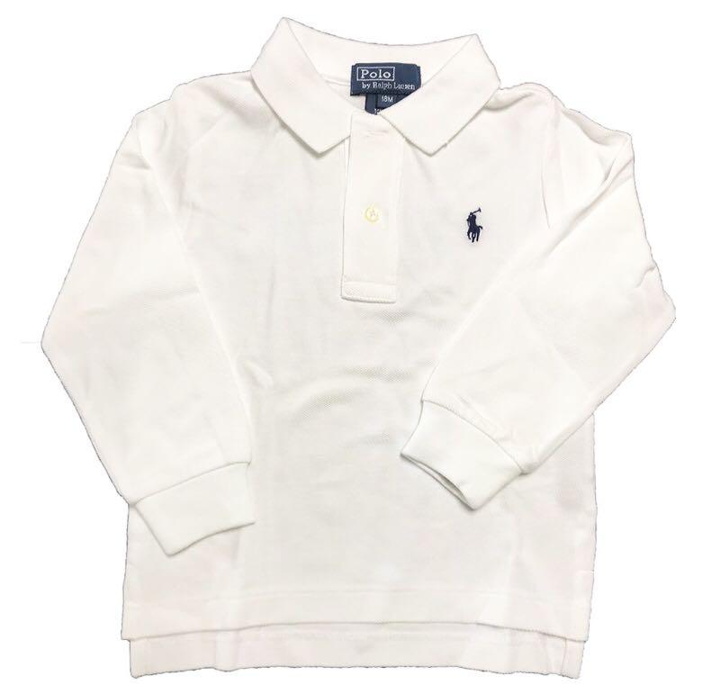 f7a128861df8 AUTHENTIC Ralph Lauren Baby Boy Cotton Long Sleeve Polo Shirt WHITE ...
