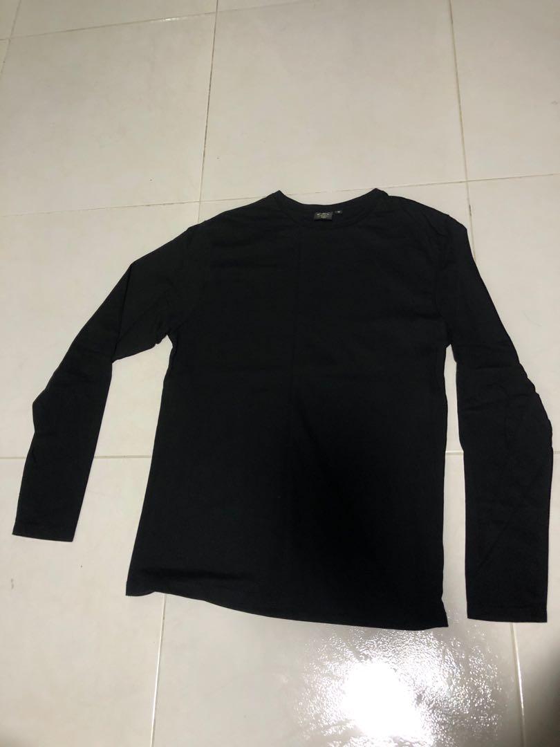 44975007 Black plain Long sleeve shirt, Women's Fashion, Clothes, Tops on ...