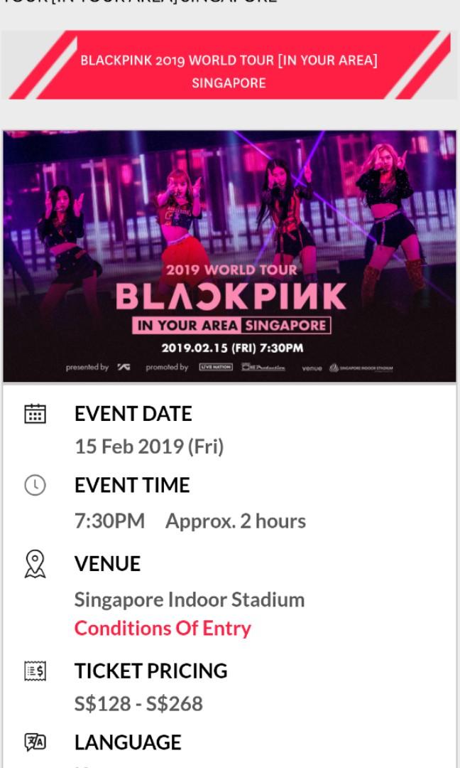 Blackpink Concert Singapore 2019 Entertainment Events Concerts