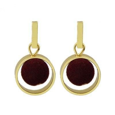 Circular Ring Hairball Pendant Fashion Earrings - RED WINE