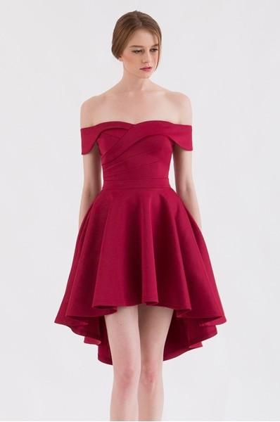 2516ffd571a4 Doublewoot Dark Red Off Shoulder High Low Dress